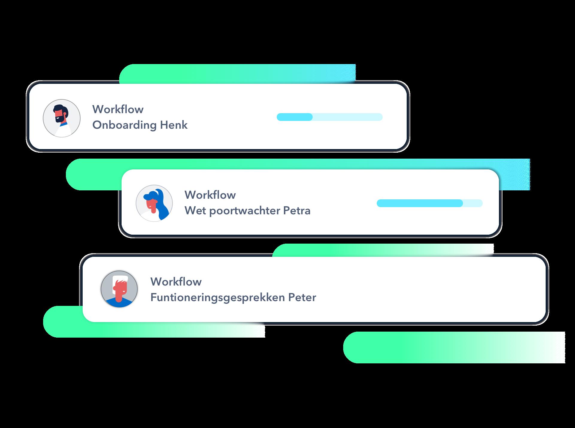 HR Workflow van HoorayHR voorbeelden Onboarding, functioneringsgesprekken en Wet poortwachter